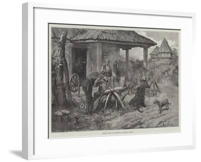 Shoeing Oxen and Horses at a Servian Smithy-Johann Nepomuk Schonberg-Framed Giclee Print