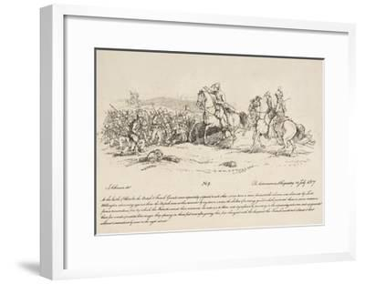 Wellington Directing a Charge of the Guards Against a Column of French at Waterloo-John Augustus Atkinson-Framed Giclee Print
