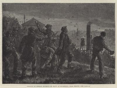 Assault on German Students by Slavs at Kuchelbad, Near Prague-Johann Nepomuk Schonberg-Framed Giclee Print