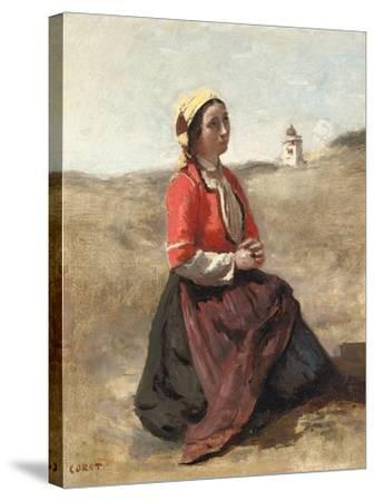 The Breton in Prayer-Jean-Baptiste-Camille Corot-Stretched Canvas Print