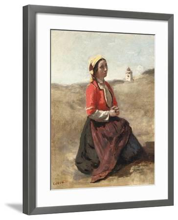 The Breton in Prayer-Jean-Baptiste-Camille Corot-Framed Giclee Print