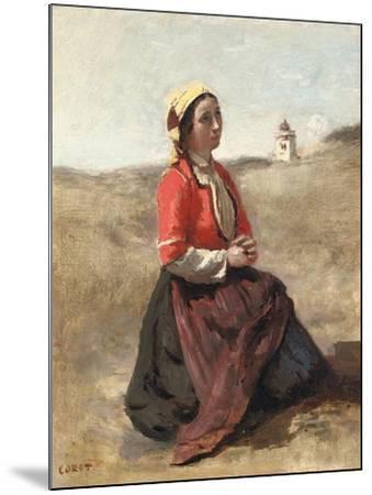 The Breton in Prayer-Jean-Baptiste-Camille Corot-Mounted Giclee Print