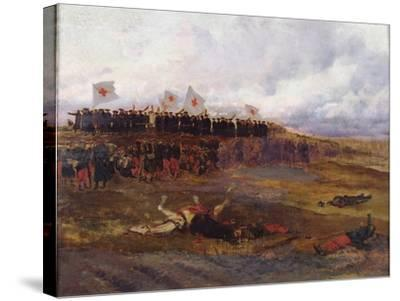 Stretcher-Bearers on the Battlefield During the Siege of Paris-Jean-Baptiste Edouard Detaille-Stretched Canvas Print