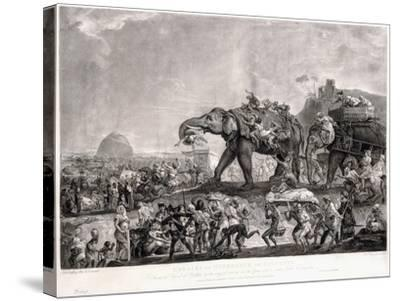 Embassy of Hyderbeck to Calcutta-Johann Zoffany-Stretched Canvas Print