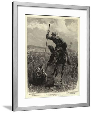 Riding Down a Wolf in India-John Charlton-Framed Giclee Print