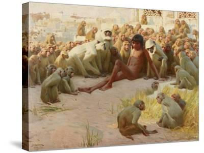 Mowgli Made Leader of the Bandar-Log, 1918-John Charles Dollman-Stretched Canvas Print