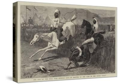 The End of the Zulu War, Hurdle Race by Basutos at the Camp in the Upoko Valley-John Charles Dollman-Stretched Canvas Print