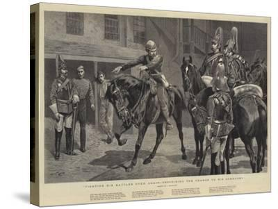 Fighting His Battles over Again, Describing the Charge to His Comrades-John Charlton-Stretched Canvas Print