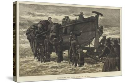 Launching the Life Boat-John Dawson Watson-Stretched Canvas Print