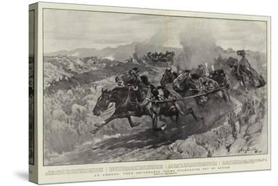 An Ambush, Four Driverless Teams Stampeding Out of Action-John Charlton-Stretched Canvas Print