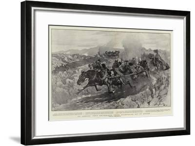 An Ambush, Four Driverless Teams Stampeding Out of Action-John Charlton-Framed Giclee Print