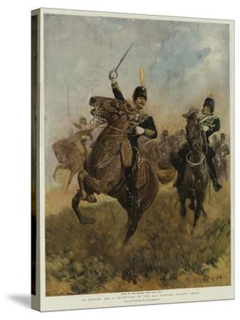 An Officer and a Trumpeter of the 20th Hussars, Review Order-John Charlton-Stretched Canvas Print