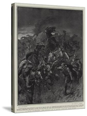 A Wild Stampede, the Effect of a South African Hail-Storm-John Charlton-Stretched Canvas Print