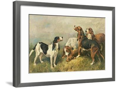 Hounds with a Hare-John Emms-Framed Giclee Print