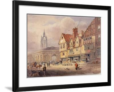 Old Buildings, Union Street and Corn Exchange before Town Hall Was Built (Bodycolour on Paper)-John Storey-Framed Giclee Print