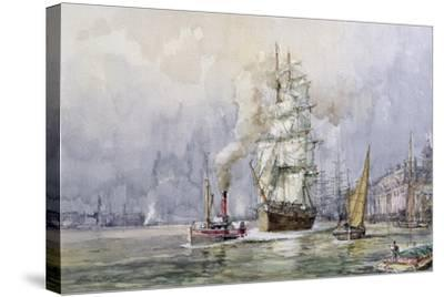 The 'Salamis' Passing Greenwich-John Sutton-Stretched Canvas Print