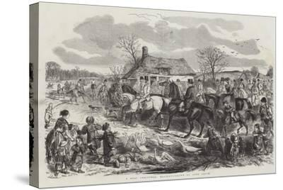 A Real Christmas Holiday-John Leech-Stretched Canvas Print