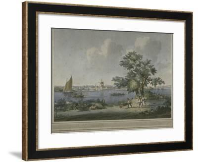 View of Figures Transporting Vegetables Along the Bank of the River Thames, 1787-John the Elder Cleveley-Framed Giclee Print