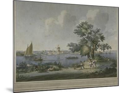 View of Figures Transporting Vegetables Along the Bank of the River Thames, 1787-John the Elder Cleveley-Mounted Giclee Print