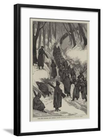 With the Russians and General Rauch, Dragging Cannon Up a Mountain Steep-Joseph Nash-Framed Giclee Print