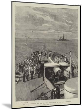 The Naval Manoeuvres, with the Red Fleet, Divine Service on Board HMS Blenheim-Joseph Nash-Mounted Giclee Print