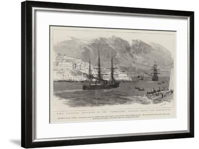 HMS Sultan, Escorted by the Temeraire, Leaving Malta for Portsmouth-Joseph Nash-Framed Giclee Print