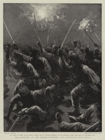 The Fighting on the Indian Frontier, the Effect of Star Shell-Joseph Nash-Framed Giclee Print