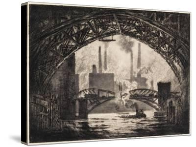 Under the Bridges, Chicago, 1910-Joseph Pennell-Stretched Canvas Print