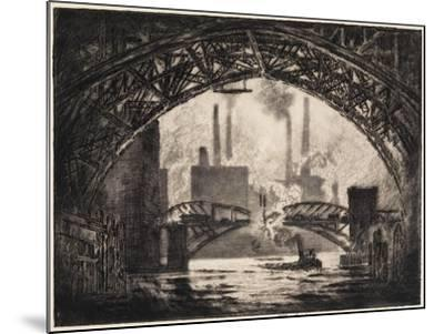 Under the Bridges, Chicago, 1910-Joseph Pennell-Mounted Giclee Print