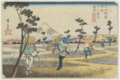 No.8 Distant View of Mt. Fuji as Seen from Fukiage Near Konosu Station, 1830-1844-Keisai Eisen-Framed Giclee Print