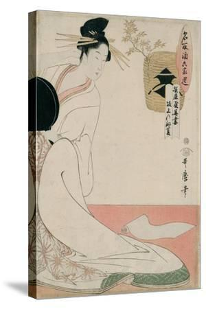 The Courtesan Hanazuma of Hyogoya from the Series 'Brands of Sake Linked with Six Selected Courtesa-Kitagawa Utamaro-Stretched Canvas Print