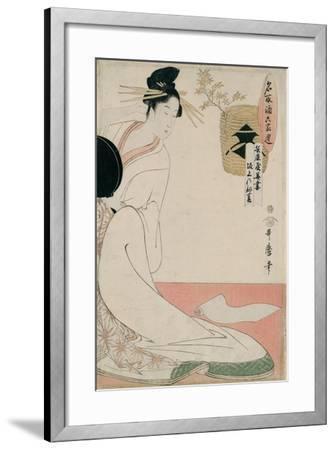 The Courtesan Hanazuma of Hyogoya from the Series 'Brands of Sake Linked with Six Selected Courtesa-Kitagawa Utamaro-Framed Giclee Print