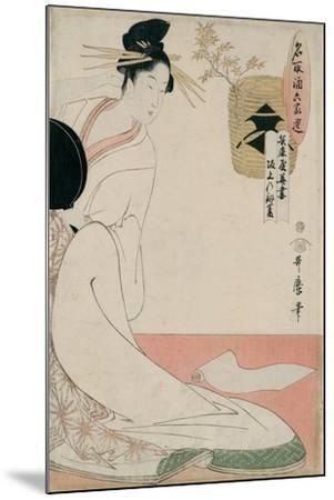 The Courtesan Hanazuma of Hyogoya from the Series 'Brands of Sake Linked with Six Selected Courtesa-Kitagawa Utamaro-Mounted Giclee Print