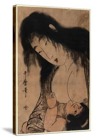 Yamauba No Chichi O Suh Kintaro-Kitagawa Utamaro-Stretched Canvas Print
