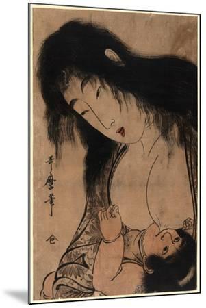 Yamauba No Chichi O Suh Kintaro-Kitagawa Utamaro-Mounted Giclee Print