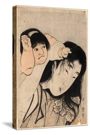 Yamauba No Kami O Tsukamu Kintaro-Kitagawa Utamaro-Stretched Canvas Print