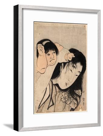 Yamauba No Kami O Tsukamu Kintaro-Kitagawa Utamaro-Framed Giclee Print