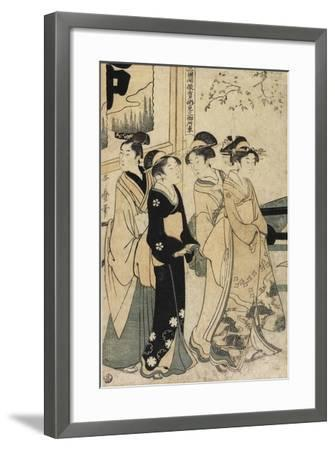A Young Man and Three Women and Oxcart in Front of Mimeguri Shrine, C. 1781-1806-Kitagawa Utamaro-Framed Giclee Print