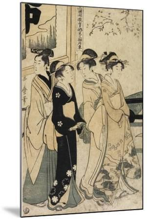 A Young Man and Three Women and Oxcart in Front of Mimeguri Shrine, C. 1781-1806-Kitagawa Utamaro-Mounted Giclee Print