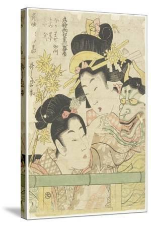 Two Courtesans in the Roles of Koi-Shigure Momiji No Rodai, 1781-1806-Kitagawa Utamaro-Stretched Canvas Print