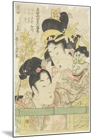 Two Courtesans in the Roles of Koi-Shigure Momiji No Rodai, 1781-1806-Kitagawa Utamaro-Mounted Giclee Print