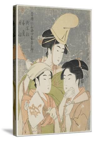 Asazuma-Bune, Fan-Seller, and Poetic Epithets, 1793-Kitagawa Utamaro-Stretched Canvas Print