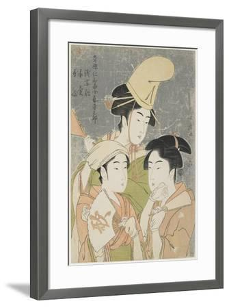 Asazuma-Bune, Fan-Seller, and Poetic Epithets, 1793-Kitagawa Utamaro-Framed Giclee Print