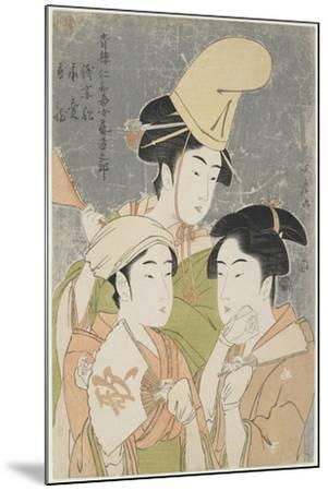 Asazuma-Bune, Fan-Seller, and Poetic Epithets, 1793-Kitagawa Utamaro-Mounted Giclee Print