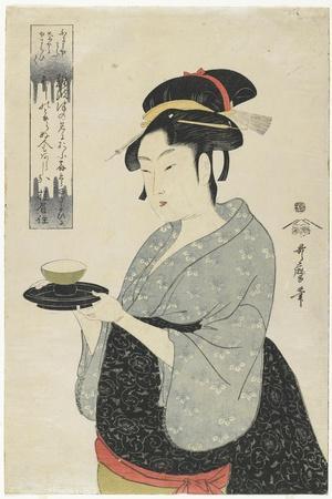 Naniwaya Teahouse Waitress Okita, C. 1793-Kitagawa Utamaro-Framed Giclee Print