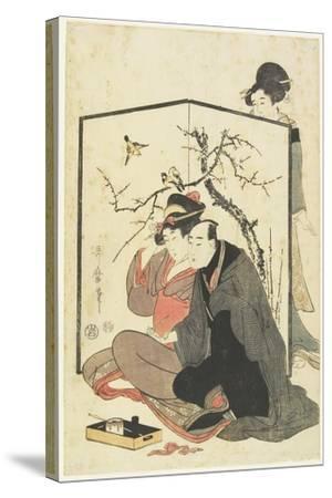 Man and Courtesan Smoking Pipes, C. 1804-Kitagawa Utamaro-Stretched Canvas Print