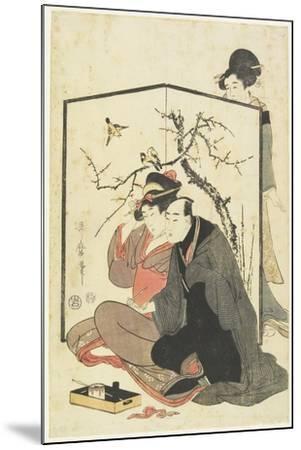 Man and Courtesan Smoking Pipes, C. 1804-Kitagawa Utamaro-Mounted Giclee Print