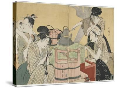 Kitchen Scene, 1794-1795-Kitagawa Utamaro-Stretched Canvas Print