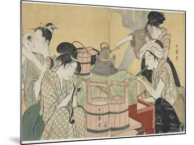 Kitchen Scene, 1794-1795-Kitagawa Utamaro-Mounted Giclee Print
