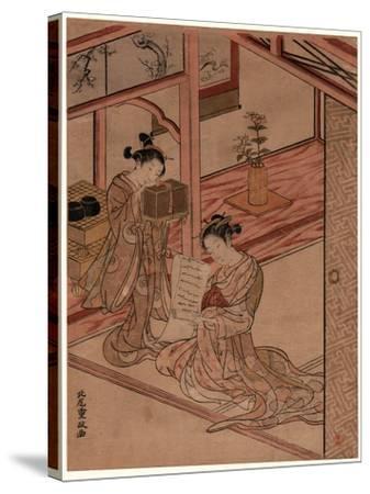 Zashiki No Yujo to Kamuro-Kitao Shigemasa-Stretched Canvas Print